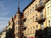El encanto de las casas de Lodz Foto de archivo libre de regalías