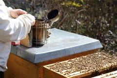 El encargado de la abeja está preparando a un fumador Imagen de archivo