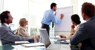 El encargado de observación del equipo del negocio hace la presentación metrajes