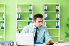 El encargado financiero de sexo masculino que trabaja en la oficina foto de archivo