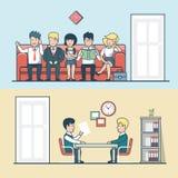 El encargado plano linear de la hora habla con el hombre, candidato libre illustration