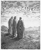 El encuentro Jesús de los discípulos en el camino fotos de archivo