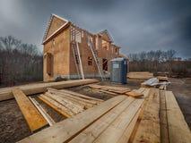 El enmarcar de la construcción de la nueva casa Fotografía de archivo