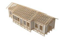 El enmarcar de madera del hogar de la nueva construcción cortado y cartón yeso en el fondo blanco Fotos de archivo libres de regalías