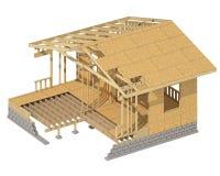El enmarcar de madera del nuevo hogar de la construcción residencial Fotos de archivo