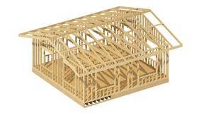 El enmarcar de madera del nuevo hogar de la construcción residencial Imágenes de archivo libres de regalías