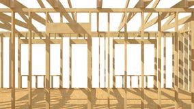 El enmarcar de madera del nuevo hogar de la construcción residencial Imagenes de archivo