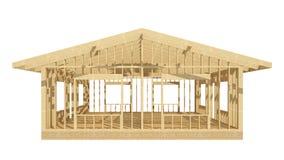 El enmarcar de madera del nuevo hogar de la construcción residencial Foto de archivo