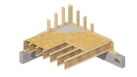 El enmarcar de madera del nuevo hogar de la construcción residencial Imagen de archivo libre de regalías