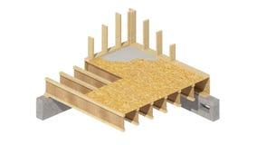 El enmarcar de madera del nuevo hogar de la construcción residencial Foto de archivo libre de regalías