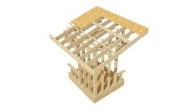 El enmarcar de madera del nuevo hogar de la construcción residencial Fotografía de archivo libre de regalías
