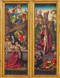 El entierro y la resurrección de la escena de Jesús del altar tallado gótico en la iglesia de la orden o del Deutschordenkirche t Fotografía de archivo libre de regalías