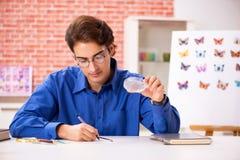 El entomólogo del estudiante que estudia la nueva especie de mariposas imágenes de archivo libres de regalías