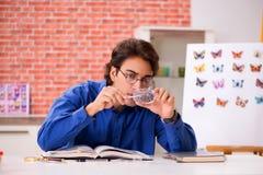 El entomólogo del estudiante que estudia la nueva especie de mariposas foto de archivo
