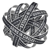 El entrar en los círculos perdidos en los caminos sin fin en la confusión Imagen de archivo libre de regalías
