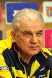 El entrenador y los jugadores del equipo de fútbol nacional de Rumania durante Imagen de archivo libre de regalías