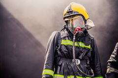 El entrenamiento del bombero Fotografía de archivo