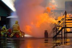 El entrenamiento del bombero Fotografía de archivo libre de regalías