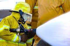 El entrenamiento del bombero Fotos de archivo libres de regalías