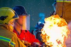 El entrenamiento del bombero Imagen de archivo libre de regalías