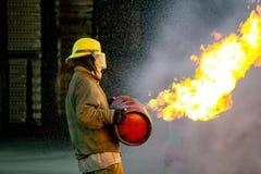 El entrenamiento del bombero Foto de archivo libre de regalías