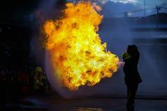 El entrenamiento del bombero Fotos de archivo