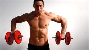 El entrenamiento masculino hermoso joven del culturista lleva a hombros con pesas de gimnasia metrajes
