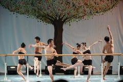 El entrenamiento para el concierto barra-básico de la graduación de la clase de baile de la universidad -2011 de China Jiaotong d Imagen de archivo