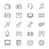 El entretenimiento enrarece iconos stock de ilustración