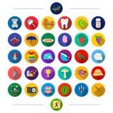 El entretenimiento, los animales, las materias textiles y el otro icono del web en estilo plano logro, deporte, negocio, iconos e Fotos de archivo