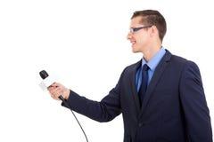 El entrevistarse con del periodista Imagen de archivo