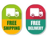 El envío gratis y la entrega con el camión firman, la etiqueta elíptica dos stock de ilustración