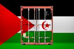 El envase de transporte con la bandera nacional stock de ilustración