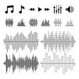 El equalizador, música, las ondas acústicas vector iconos ilustración del vector