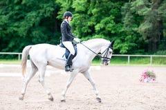El equestrian del adolescente en el montar a caballo del uniforme de vestido en está a caballo Imagenes de archivo