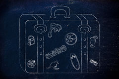 El equipaje con vacaciones de verano inspiró etiquetas engomadas Imágenes de archivo libres de regalías