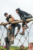 El equipo asalta la pared neta en raza del extrim Tyumen Rusia Imagenes de archivo