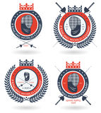 El equipo de cercado, el club o el sistema del emblema de la ronda de campeonato con la corona y el laurel enrruellan Fotografía de archivo