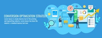 El equipo de comercialización de Digitaces que trabaja en la optimización del índice de conversión, ventas concentra la mejora Ba ilustración del vector