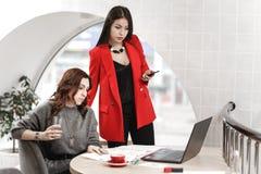 El equipo de dos mujeres jovenes elegantes de los interioristas está trabajando en la oficina en el proyecto de diseño imagenes de archivo