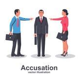 El equipo de empleados señala el finger en la persona culpable ilustración del vector