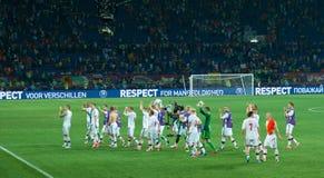 El equipo de fútbol nacional de Dinamarca agradece ventiladores Foto de archivo libre de regalías
