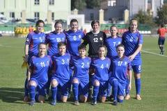 El equipo de fútbol nacional de las mujeres del Moldavia Fotografía de archivo libre de regalías