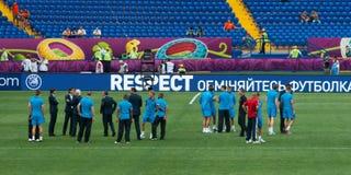 El equipo de fútbol nacional holandés prueba la echada Fotos de archivo libres de regalías