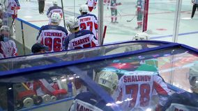 El equipo de hockey de la opinión de la parte trasera de la cámara lenta entra en la arena del hielo metrajes