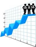 Hombres de negocios del equipo del top de la carta de las ventas ilustración del vector