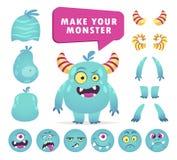 El equipo de la creación del monstruo de la historieta, cara linda fijó ilustración del vector