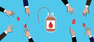 El equipo de la gente del concepto de la donación de sangre da el suyo en la tabla Fotografía de archivo libre de regalías