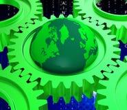 El equipo de red representa comunicaciones globales y la computación Imagen de archivo