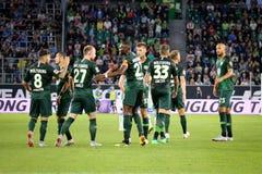 El equipo de Vfl Wolfsburgo celebra la estación de la victoria 2018-2019 Imagen de archivo